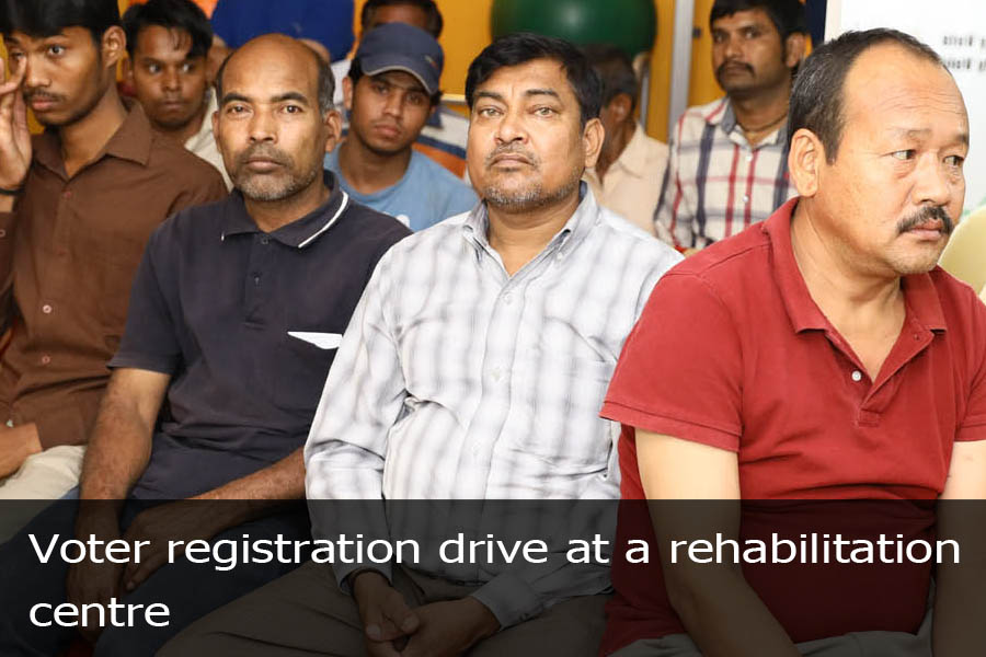 Voter registration drive at a rehabilitation centre
